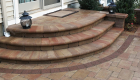 44-two tiered patio Unilock Brussels paver and block with series 3000 inlay (8)