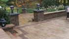 45-two tiered patio Unilock Brussels paver and block with series 3000 inlay (9)