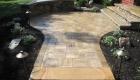 6-Cambridge ledgestone walkway with natural stone quarter wall and chrishna yellow cap (1)
